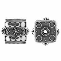 Sterling Silver Ornate Cube Beads 16x17mm - B1194