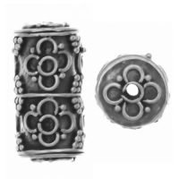 Sterling Silver Ornate Tube Beads 16x9mm - B1095