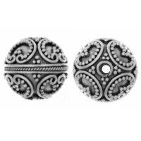 Sterling Silver Fancy Round Beads 13x12.5mm - B1099