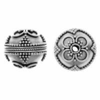 Sterling Silver Fancy Round Beads 12.6x13.6mm - B1198