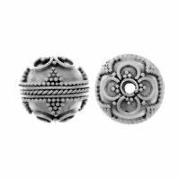 Sterling Silver Fancy Round Beads  12.5 x 13 mm - B1199