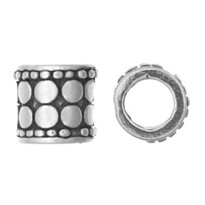 Sterling Silver   Barrel Tube Beads  7.7 x 8 mm - B1632