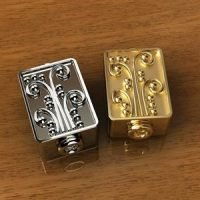 Sterling Silver Ornate Cube Beads 11.3x6.8mm - B1649