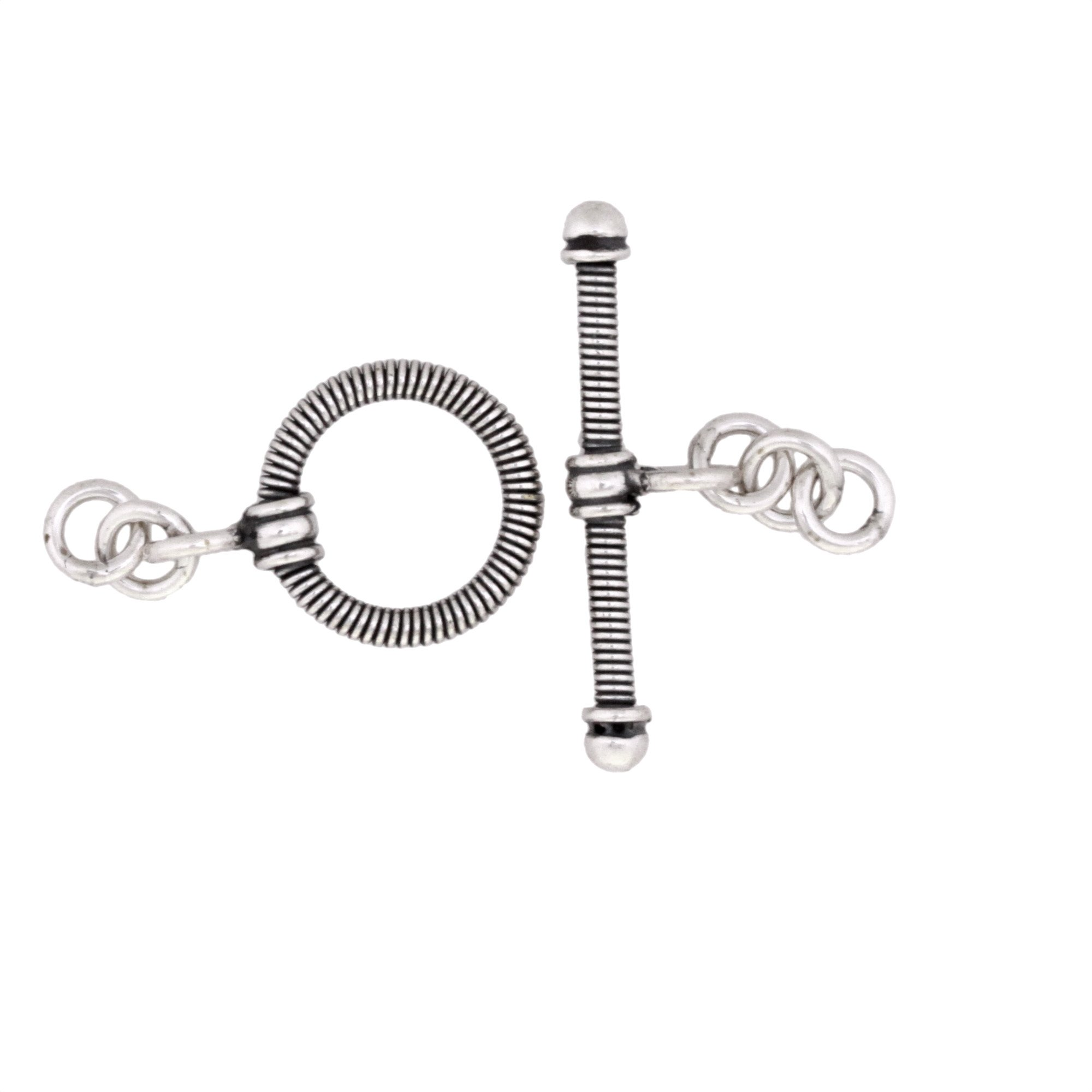 Silver Toggle Clasp 19 mm Antique Bali Style 925 Sterling Toggle Clasp Vintage Style Sterling Silver Finding Toggle Clasp 617-SCL19