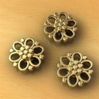 Sterling Silver Flower Conector 9x9mm - CN001