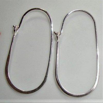 Sterling Silver Oval Earrings Hoop