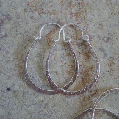 (One Pair) Sterling Silver Earrings Hoop 33×24.5mm – ER8077