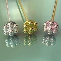 Sterling Silver Ornate Head Pins 22 Gauge, Length 70mm, Head 5mm - H7035