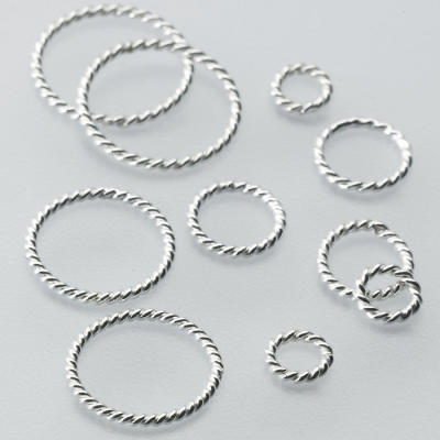 Sterling Silver Round Twist-Wire, Closed Jump Rings