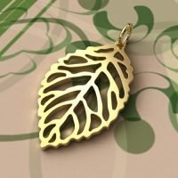 Sterling Silver Charms Leaf Outline