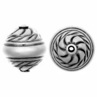 Sterling Silver Fancy Stamped Beads 11.5x10mm - B1006