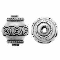Sterling Silver Fancy Round Beads  13x11mm - B1047