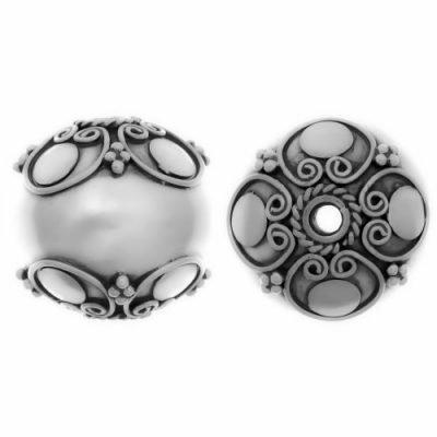Sterling Silver Fancy Round Beads  16.7x16.7mm - B1050