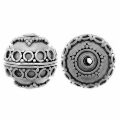 Sterling Silver Fancy Round Beads  12x13mm - B1051
