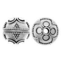 Sterling Silver Fancy Round Beads  12x13mm - B1053