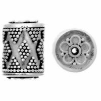 Sterling Silver Ornate Tube Beads 13.8x10mm - B1062
