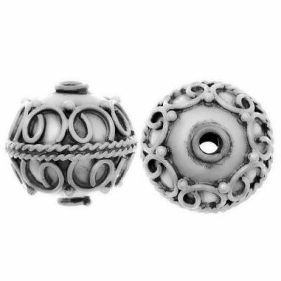 Sterling Silver Fancy Round Beads  12x12.5mm - B1066