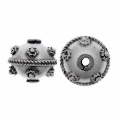 Sterling Silver Fancy Round Beads  9.5 x11mm - B1109