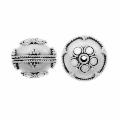 Sterling Silver Fancy Round Beads  12.5x12.8mm - B1110
