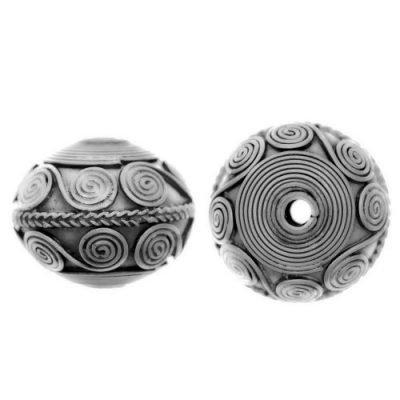 Sterling Silver Fancy Round Beads  10x13mm - B1140