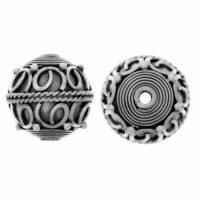 Sterling Silver Fancy Round Beads  11.5x12.5mm - B1227