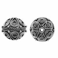 Sterling Silver Fancy Round Beads  11x11.5mm - B1229