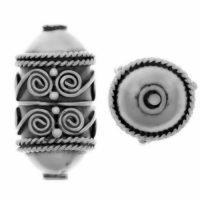 Sterling Silver Ornate Tube Beads 14x8mm - B1233