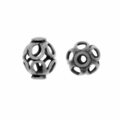 Sterling Silver Barrel Wire Beads  9x7mm - B1306