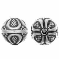 Sterling Silver Fancy Round Beads  14x13.5mm - B1478