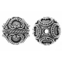 Sterling Silver Fancy Round Beads  11x12mm - B1516
