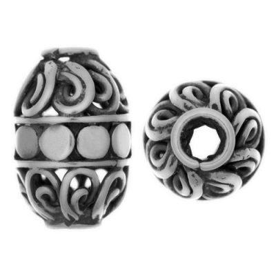 Sterling Silver Barrel Shaped Beads  13x9.3mm - B1571