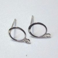 Sterling Silver Hammered Circle Ear Post 10mm, 3mm Loop - EP007