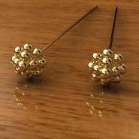 Sterling Silver  Ornate Head Pins  22 Gauge, Length 70mm, Head 5.6mm - H7005