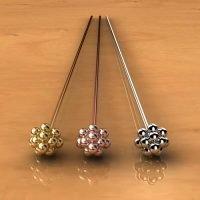 Sterling Silver  Ornate Head Pins  22 Gauge, Length 75mm, Head 3.5mm - H7020