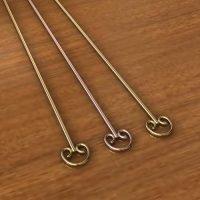 Sterling Silver  Eye Pins  24 Gauge, Length 65mm, Head 5mm - H7029