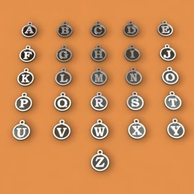 Sterling Silver Alphabet Charms Ø 10mm  - ID1010