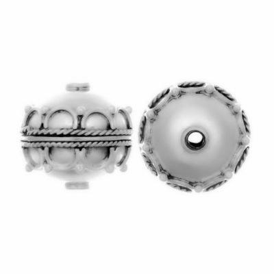 Sterling Silver Fancy Round Beads  13x14mm - B1102