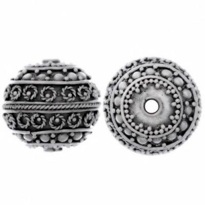 Sterling Silver Fancy Round Beads  15x15.5mm - B1105