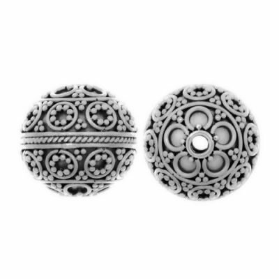 Sterling Silver Fancy Round Beads  14x14mm - B1106