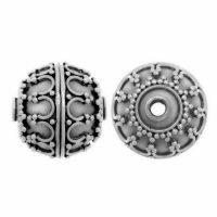 Sterling Silver Fancy Round Beads 12x12mm - B1115