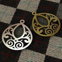 Sterling Silver Bali Pear Swirl Charm 20.9 x 17 mm - CH015