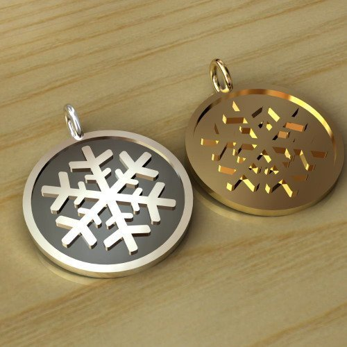 Sterling Silver Snow Flake Disc - CH032