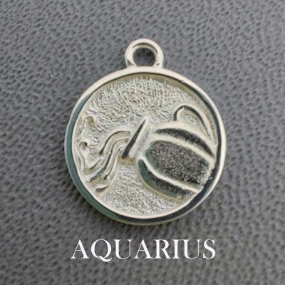 sterling silver aquarius zodiac pendant charm