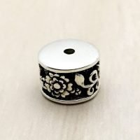 Sterling Silver Ornate Tube Beads - B1663